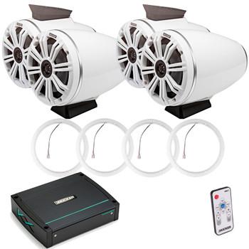 "Kicker KMFC65W 6.5"" Flat Mount White Tower Speakers (2 pair) with LED Rings, KXM4002 Marine Amplifier"