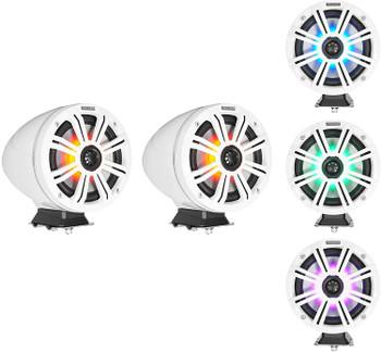 "Kicker KMFC65W 6.5"" Flat Mount White Tower Speakers (1 pair) with LED Rings, KXM4002 Marine Amplifier"