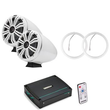 "Kicker KMFC8W 8"" Flat Mount White Tower Speakers (1 pair) with LED Rings, KXM4002 Marine Amplifier"