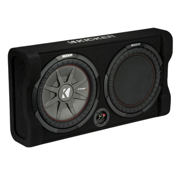 Kicker 47TRTP122 12-Inch Thin Down Firing Subwoofer And Passive Radiator Enclosure, Kicker KX800 amplifier and wire kit