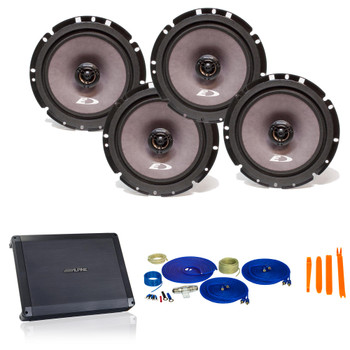 "Alpine Bundle 2-Pairs of SXE-1726s 6.5"" Coax Speakers and BBX-F1200 280W 4-Ch Amp and Wiring"