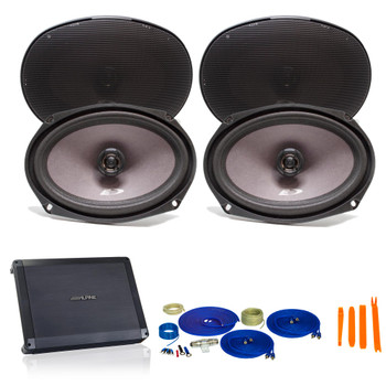 "Alpine Bundle 2-Pairs of SXE-6926s 6x9"" Coax Speakers and a BBX-F1200 280W 4-Ch Amp and Wiring"