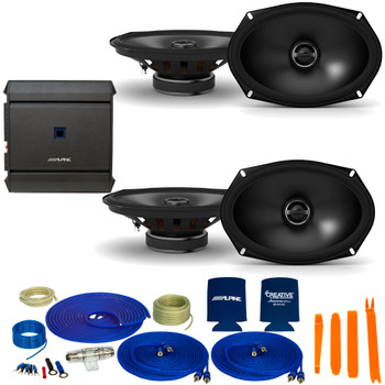 "Alpine 2-Pairs S-S69 6x9"" Coax Speakers and an Alpine S-A32F 320W 4-Ch Amp and Wiring"