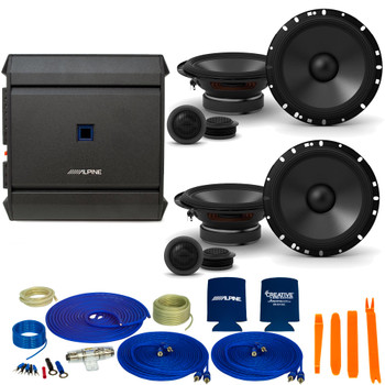 "Alpine 2-Pairs S-S65C 6.5"" Component Speakers with an Alpine S-A32F 320W 4-Ch Amp and Wiring"