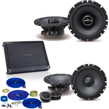 "Alpine 1-Pair SPS-610C 6.5"" Component and 1-Pair SPS-610 6.5"" Coax with BBX-F1200 280 Watt 4-CH Amplifier and Wiring"