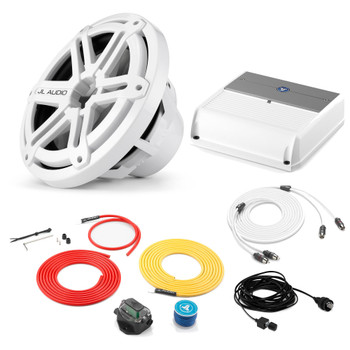 """JL Audio Marine Bass Package - M200/2 Amplifier, MX10IB3-SG-WH 10"""" Subwoofer, Marine Wire Kit, and Bass Knob"""