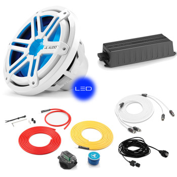 "JL Audio Marine Bass Package - MX300/1 Amplifier, MX10IB3-SG-WLD-B 10"" Subwoofer, Marine Wire Kit, and Bass Knob"