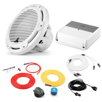 """JL Audio Marine Bass Package - M200/2 Amplifier, MX10IB3-CG-WH 10"""" Subwoofer, Marine Wire Kit, and Bass Knob"""