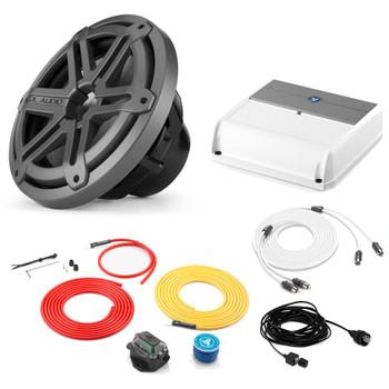 "JL Audio Marine Bass Package - M200/2 Amplifier, MX10IB3-SG-TB 10"" Subwoofer, Marine Wire Kit, and Bass Knob"