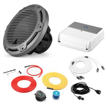 "JL Audio Marine Bass Package - M200/2 Amplifier, MX10IB3-CG-TB 10"" Subwoofer, Marine Wire Kit, and Bass Knob"