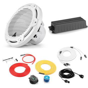 """JL Audio Marine Bass Package - MX300/ Amplifier, MX10IB3-CG-WH 10"""" Subwoofer, Marine Wire Kit, and Bass Knob"""