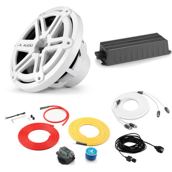 """JL Audio Marine Bass Package - MX300/ Amplifier, MX10IB3-SG-WH 10"""" Subwoofer, Marine Wire Kit, and Bass Knob"""