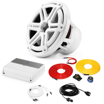 """JL Audio Marine Bass Package - M600/1 Amplifier, M10IB5-SG-WH 10"""" Subwoofer, Marine Wire Kit, and Bass Knob"""