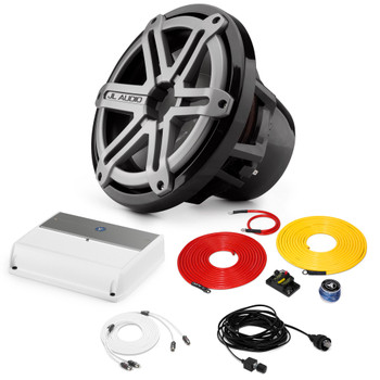 """JL Audio Marine Bass Package - M600/1 Amplifier, M10IB5-SG-TB 10"""" Subwoofer, Marine Wire Kit, and Bass Knob"""
