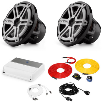 """JL Audio Marine Bass Package - M600/1 Amplifier, 2 M10IB5-SG-TB 10"""" Subwoofers, Marine Wire Kit, and Bass Knob"""
