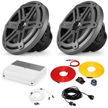 "JL Audio Marine Bass Package - M600/1 Amplifier, 2 MX10IB3-SG-TB 10"" Subwoofers, Marine Wire Kit, and Bass Knob"