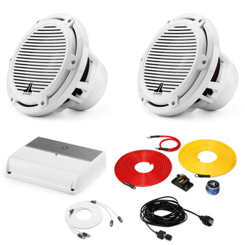 """JL Audio Marine Bass Package - M600/1 Amplifier, 2 M10IB5-CG-WH 10"""" Subwoofers, Marine Wire Kit, and Bass Knob"""