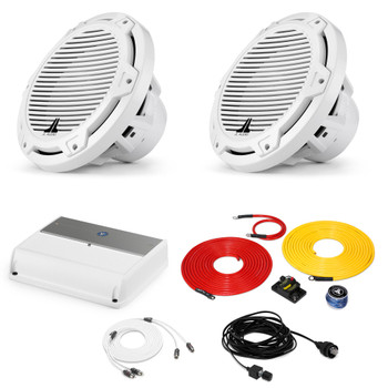 """JL Audio Marine Bass Package - M600/1 Amplifier, 2 MX10IB3-CG-WH 10"""" Subwoofers, Marine Wire Kit, and Bass Knob"""