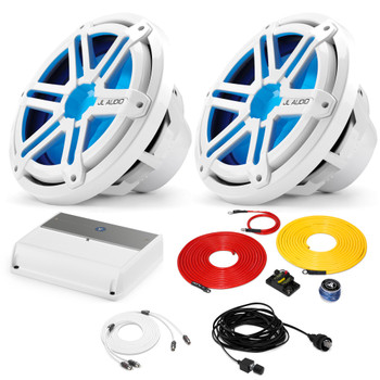 """JL Audio Marine Bass Package - M600/1 Amplifier, 2 MX10IB3-SG-WLD-B 10"""" Subwoofers, Marine Wire Kit, and Bass Knob"""