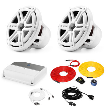 """JL Audio Marine Bass Package - M600/1 Amplifier, 2 M10IB5-SG-WH 10"""" Subwoofers, Marine Wire Kit, and Bass Knob"""