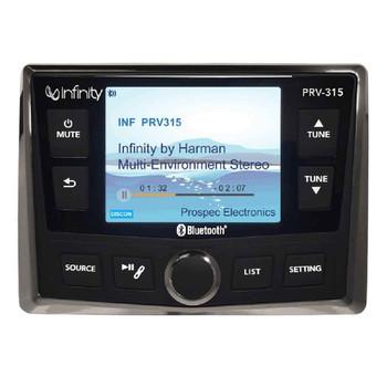 "Infinity PRV-315 Waterproof Radio With Stinger SEADASH3W Universal Marine 3"" Radio Dash Kit - White"