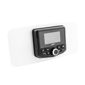 """Kicker KMC5 Waterproof Radio With Stinger Marine SEADASH3W Universal Marine 3"""" Radio Dash Kit - White"""