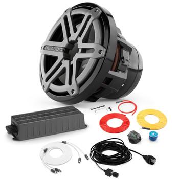"JL Audio Marine Bass Package - MX300/1 Amplifier, M8IB5-SG-TB 8"" Subwoofer, Marine Wire Kit, And Bass Knob"