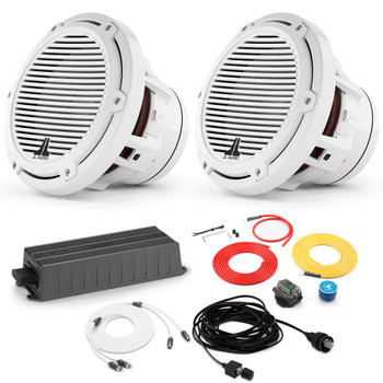 """JL Audio Marine Bass Package - MX300/1 Amplifier, 2 M8IB5-CG-WH 8"""" Subwoofers, Marine Wire Kit, And Bass Knob"""
