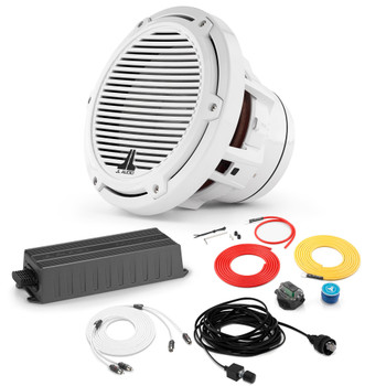 """JL Audio Marine Bass Package - MX300/1 Amplifier, M8IB5-CG-WH 8"""" Subwoofer, Marine Wire Kit, And Bass Knob"""