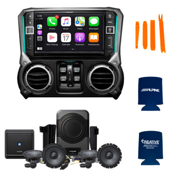 Alpine X409-WRA-JK With PSS-21WRA Powered Audio System Upgrade For 07-18 Wrangler Jk