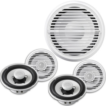 Clarion CMG1722R 7.7 Inch Marine Speakers (2 pair) and CMG2512W 10-Inch Marine Subwoofer