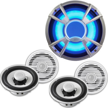 Clarion CMG1722R 7.7 Inch Marine Speakers (2 pair) and CMQ2512WL 10-Inch Marine Subwoofer LED Grill