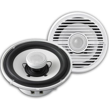 """Clarion CMG1622R 6.5"""" Marine Speakers (3 pair) & CMQ2512WL 10"""" Marine Subwoofer LED Grill, Kicker KMA4506 Amp & wire kit"""