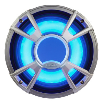 """Clarion CMG1722R 7.7"""" Marine Speakers (3 pair) & CMQ2512WL 10"""" Marine Subwoofer LED Grill, Kicker KMA4506 Amp & wire kit"""