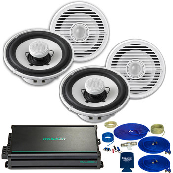 Clarion CMG1622 6.5 Inch Marine Speakers (2 pair) with Kicker KMA3004 Amplifier and wire kit