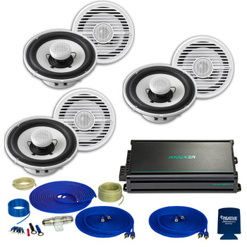 Clarion CMG1622 6.5 Inch Marine Speakers (3 pair) with Kicker KMA3004 Amplifier and wire kit