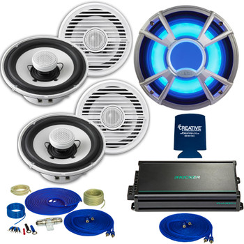 "Clarion CMG1622R 6.5"" Marine Speakers (2 pair) & CMQ2512WL 10"" Marine Subwoofer LED Grill, Kicker KMA3004 Amplifier"