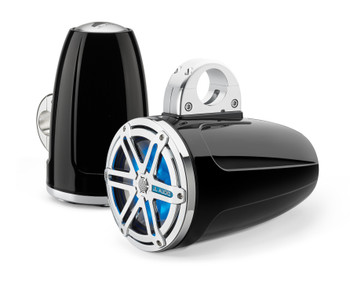 JL Audio Wake Tower LED Speaker Package includes M400/4, 2 (1 Pair) MX770-ETXv3-SG-CBLD, Covers, wire kit, RBC volume