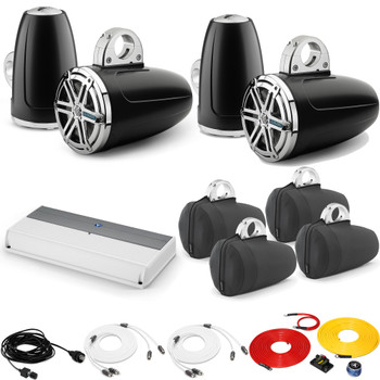 JL Audio Wake Tower Speaker Package includes M800/8, 4 (2 Pair) MX770-ETXv3-SG-CK , Covers, wire kit, RBC volume