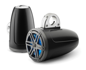 JL Audio Wake Tower LED Speaker Package includes M400/4, 2 (1 Pair) MX770-ETXv3-SG-TKLD-B, Covers, wire kit, RBC volume