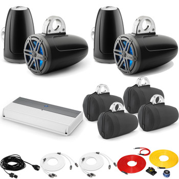 JL Audio Wake Tower LED Speaker Package includes M800/8, 4 (2 Pair) MX770-ETXv3-SG-TKLD-B, Covers, wire kit, RBC volume
