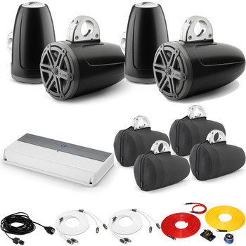 JL Audio Wake Tower Speaker Package includes M800/8, 4 (2 Pair) MX770-ETXv3-SG-TK, Covers, wire kit, RBC volume