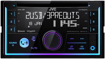 JVC KW-R935BTS Double DIN Bluetooth In-Dash Car Stereo, XM Ready, 2-zone Variable Color Illumination and FLAC playback - Like New