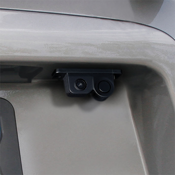 Backup camera with sensor with a 130-degree field of view and a 120-degree sensor angle