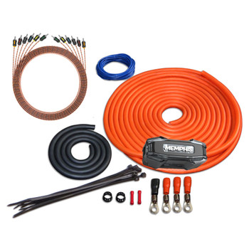 Memphis Audio 0GKIT 0-Gauge Amp Install Kit With ANL Fuse Holder With One 250A Fuse, And A Pair Of ETP-17 17-Foot RCAs