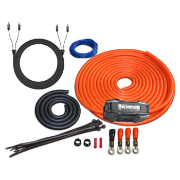 Memphis Audio 4GKIT 4-Gauge Amp Install Kit With ANL Fuse Holder With One 200A Fuse, And A Pair Of ETP-17 17-Foot RCAs
