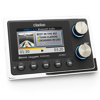 Clarion CMS4 Black Box Digital Media Receiver with Commander True Independent 4-Zone Source and Volume 3.5-inch Full Color LCD Display Water Resistant: IP66 commander, IPX5 black box