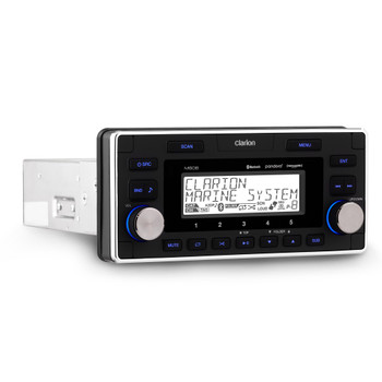 Clarion M608 Digital Media Receiver with 4 Audio Zones Standard DIN chassis, oversized 1.5 DIN faceplate Features: AM/FM/WB, Bluetooth - with AptX, USB, Aux Inputs (2), Pandora- and SiriusXM-ready