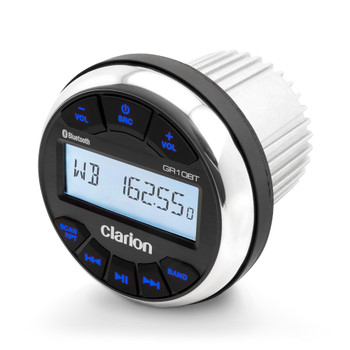 Clarion GR10BT Digital Media Receiver Installs into 3-inch Marine Gauge Hole.  Features: AM/FM/WB, Bluetooth -, USB, Aux Input Water Resistant (IPX5 front, IPX3 rear)