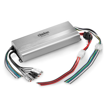 Clarion XC2510 Compact 5-Channel System Amplifier Rated Power (1% THD+N, 14.4V):  Main Channels: 50W x 4 @ 4 ohms / 75W x 4 @ 2 ohms Subwoofer Channel: 200W x 1 @ 4 ohms / 300W x 1 @ 2 ohms